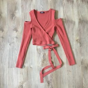 Fashion Nova Muave Cropped Wrap Top NWOT